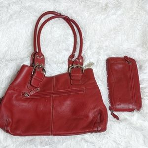 Tignanello leather bag and wallet set